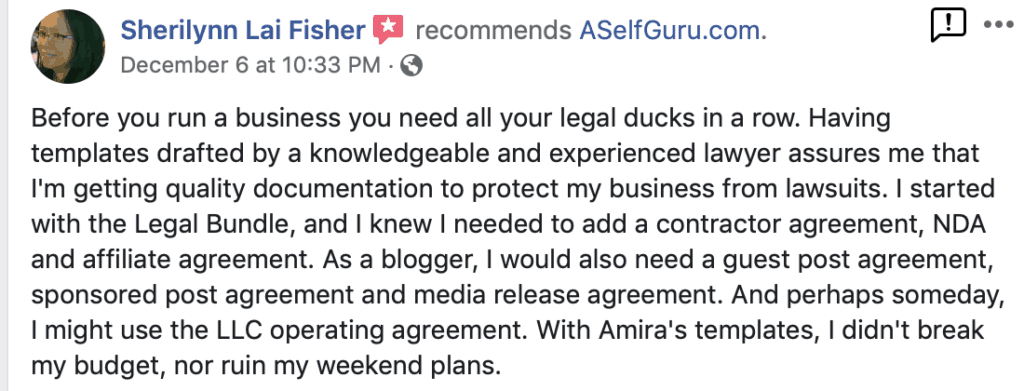 A Self Guru testimonials reviews Amira's legal templates testimonials