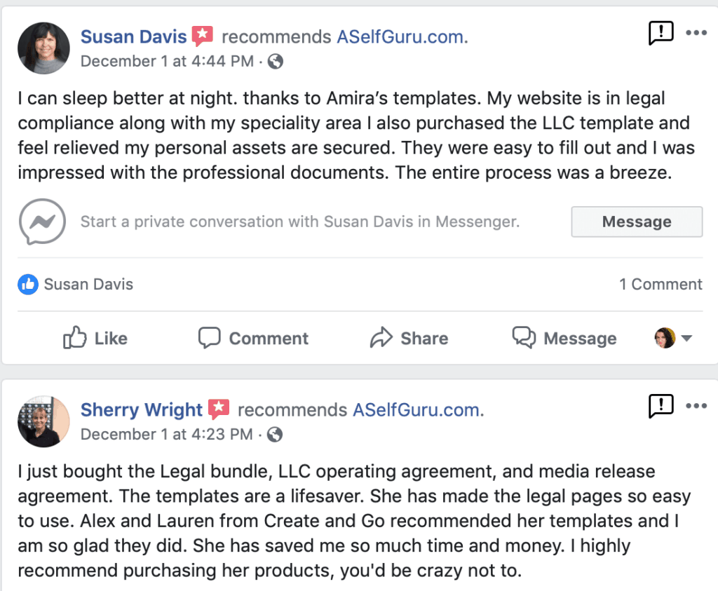 ASelfGuru Amira's legal templates reviews and testimonials