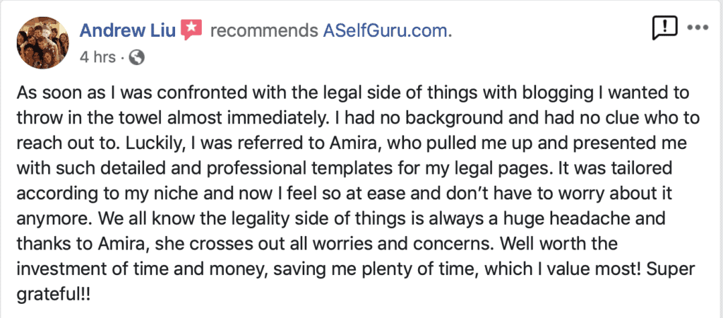 Andrew Liu Testimonial ASelfGuru Legal Bundle review, Amira's legal templates