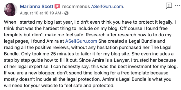 Free legal templates, testimonial, ASelfGuru Legal Bundle review, Amira's legal templates