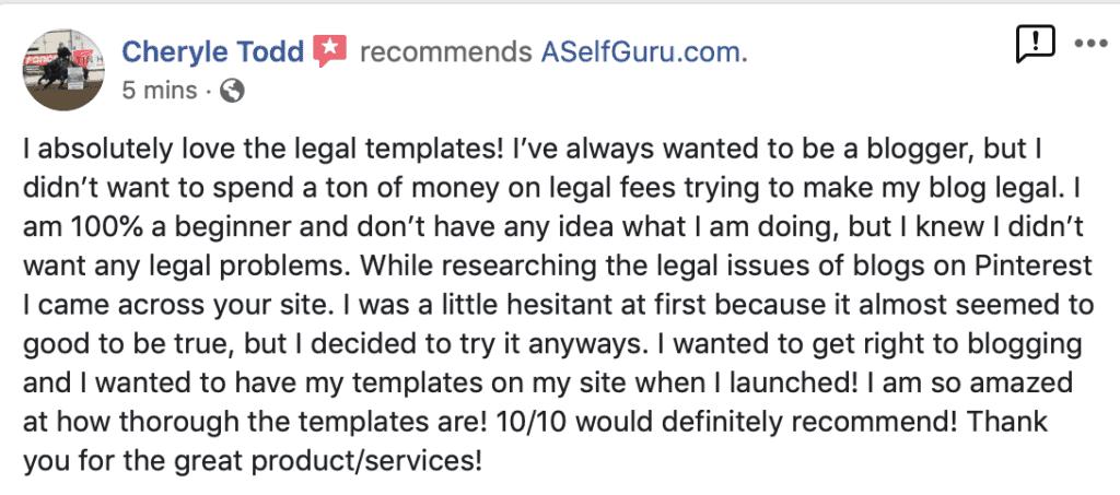 Cheryle testimonial ASelfGuru legal templates and business coaching
