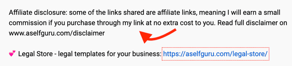 Youtube affiliate disclosure example