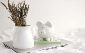 white piggy bank on top of laptop beside a plant in a white pot