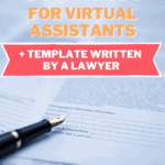 virtual assistant contract template ink pin laying on contract