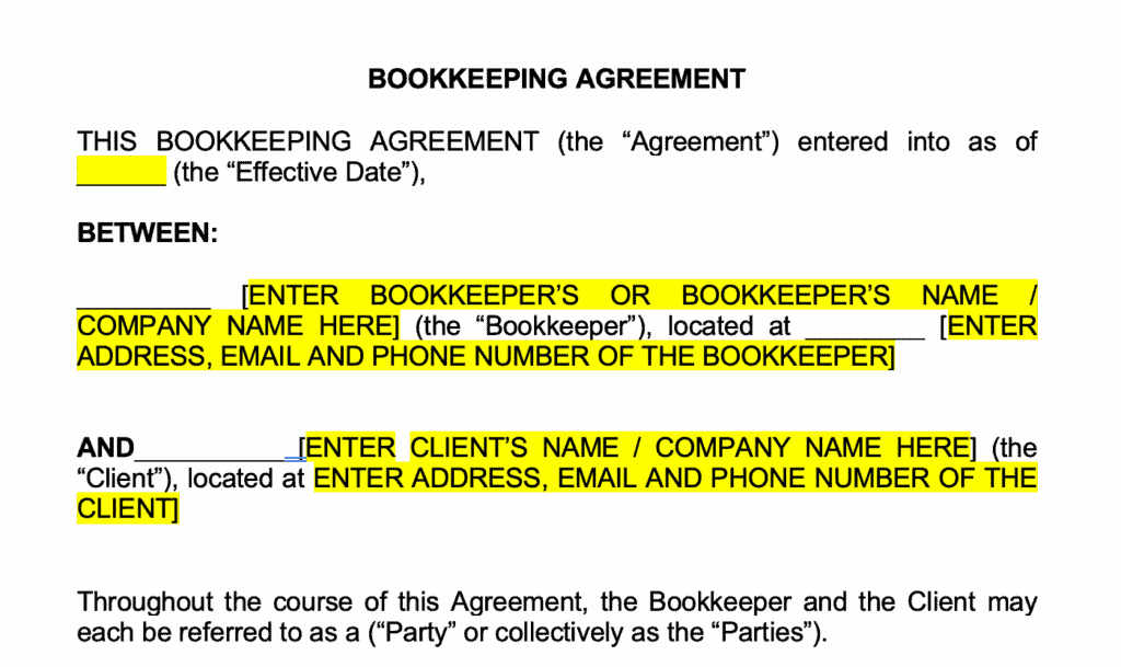 Bookkeeping Agreement template inside