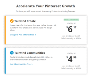 pricing for Tailwind Create and Tailwind Communities