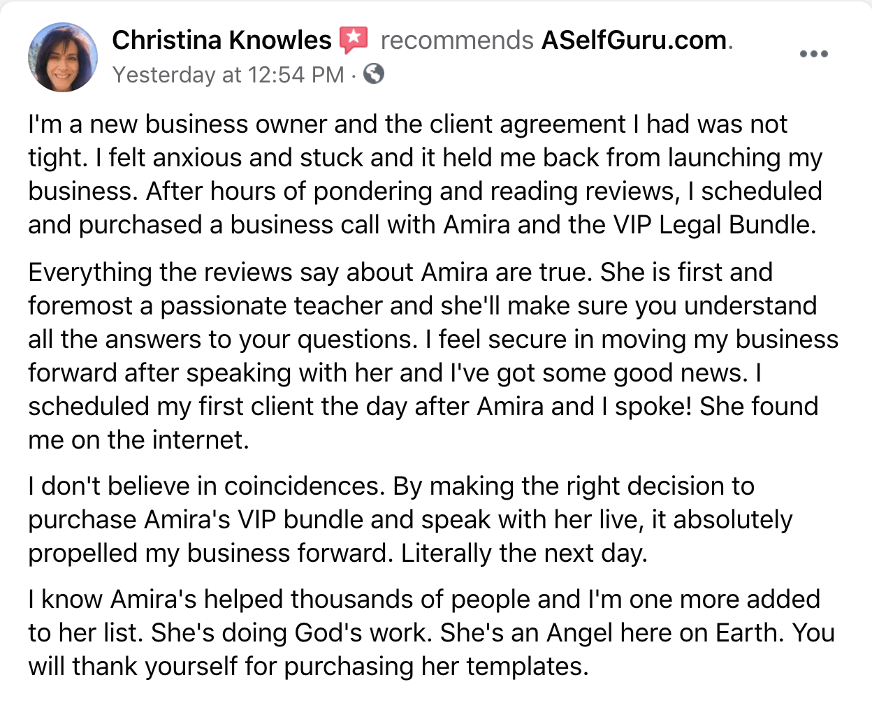 Christina testimonial VIP