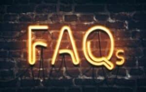 FAQs in neon yellow