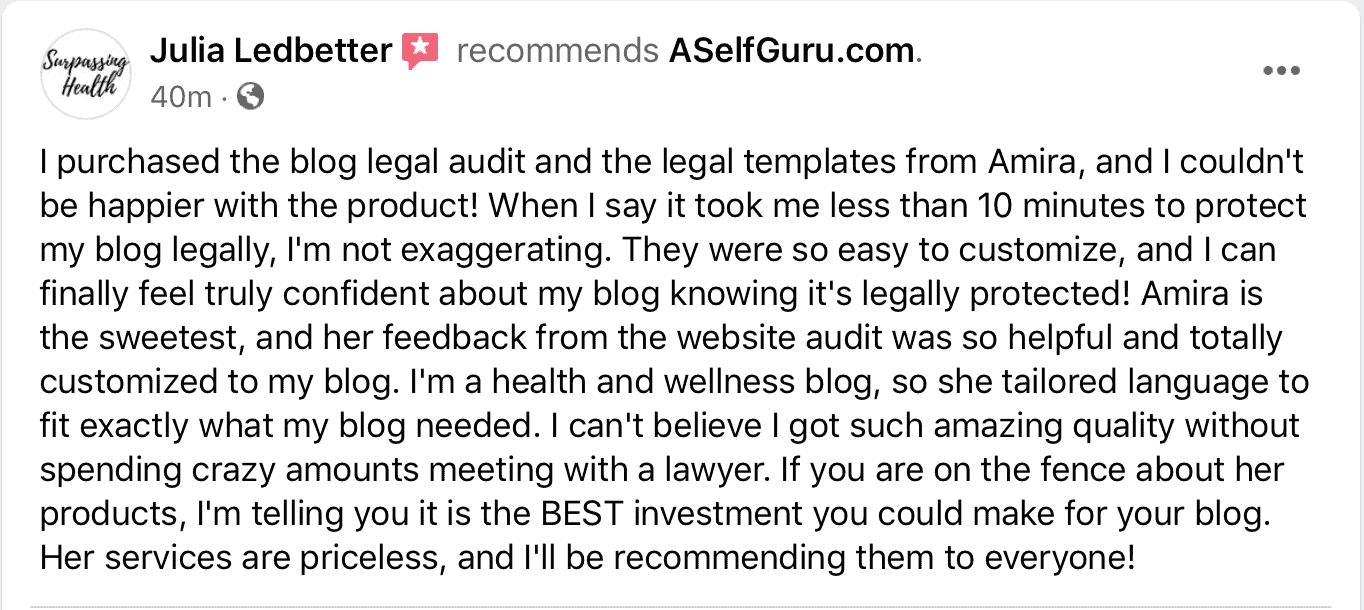Julia blog legal audit testimonial
